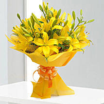 Bright Yellow Asiatic Lilies: Send Congratulations Flowers for Him