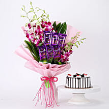 Bunch Of Orchids & Black Forest Cake Combo: Flowers N Cakes - anniversary