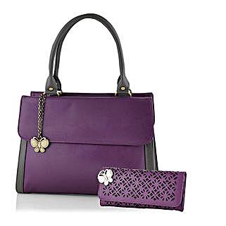 Butterflies Purple Utility Handbag Combo: Handbag Gifts