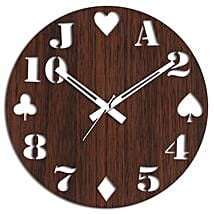 Cards Special Brown Wall Clock: Wall-Clock Gifts
