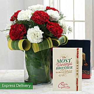 Carnations & Soan Papdi Rakhi Combo: Rakhi with Flowers