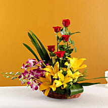Colourful Blooms Basket Arrangement: Lilies for Love & Romance