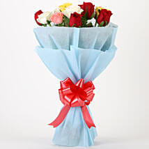 Colourful Mixed Roses Bouquet: Wedding Flowers for Groom
