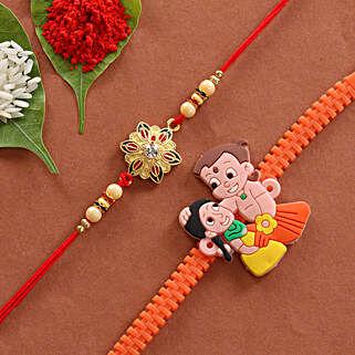 Combo of Cartoon & Floral Designer Rakhi: Rakhi - Same Day Delivery