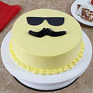 Cool Dad Emoji Cream Cake: Fathers Day Cakes