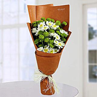 Daisy Bunch With Green Button: Designer Bouquet