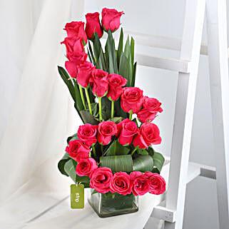 Dark Pink Roses Arrangement: Roses