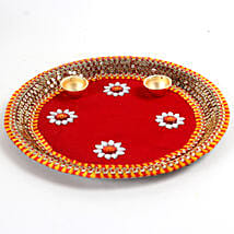 Decorated Red Floral Steel Thali: Send Chhat Puja Gifts