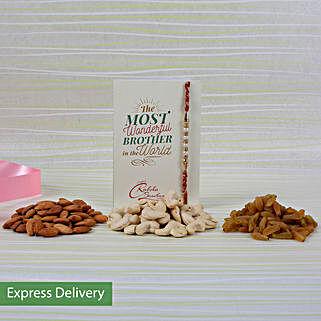 Delightful Rakhi And Nuts Combo: Rakhi with Dryfruits