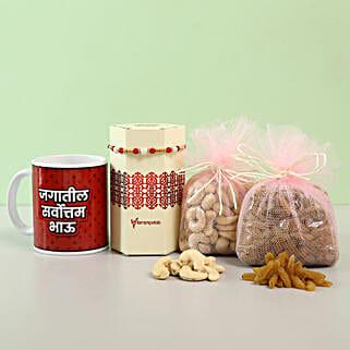 Delightful Rakhi & Dry Fruits Combo With Mug- Marathi: Rakhi with Dryfruits
