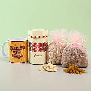 Delightful Rakhi & Printed Mug Combo- Telugu: Rakhi with Dryfruits