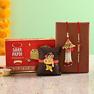 Designer Rakhi Set & Soan Papdi: Send Rakhi for Kids