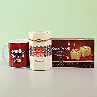 Designer Rakhi & Sweets Combo With Mug- Marathi: Rakhi with Sweets