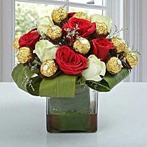 Roses & Ferrero Rocher in Glass Vase: Chocolate Bouquet for Her