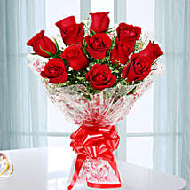 Emotions- Beautiful 12 Red Roses Bouquet: Rose Day Flowers