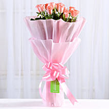 Endearing Pink Roses Bouquet: Send Flowers to Guntur