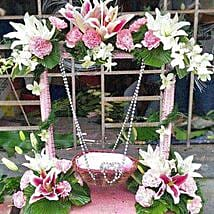 Exotic Flowers Stand Decoration: Flowers for Janmashtami