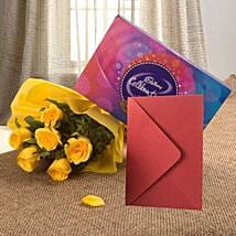 Flower Hamper N Greeting Card: Flowers & Chocolates for Love