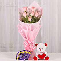 Flowers n Soft toy: Flowers & Teddy Bears for Propose Day