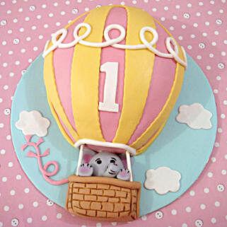 Flying Balloon Elephant Cake: 1st Birthday Cakes