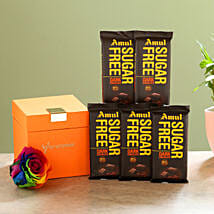 Forever Rainbow Rose & Sugar Free Amul Chocolates: Flowers to Tirupur