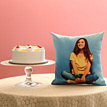 Fresh Pineapple Cake & Personalised Cushion Combo: Gift Combos