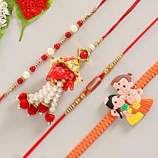 Funky & Colorful Set of 4 Rakhis: Send Set of 4 Rakhi