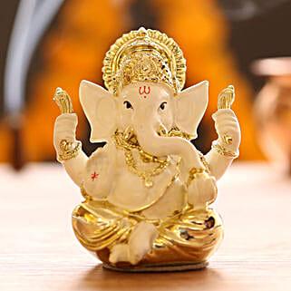 Gold Plated White Ganesha Idol: Diwali Gifts for Boss