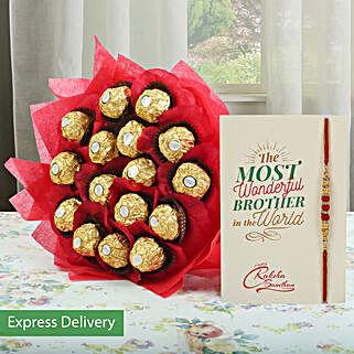 Gorgeous Rocher Bouquet And Rakhi: Raksha Bandhan Greeting Card