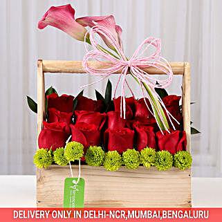 Graceful Basket of Roses: Flower Arrangements