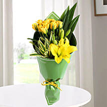 Yellow Roses & Asiatic Lilies Bouquet: Mixed flowers