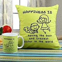 Happiness Mug N Cushion Combo: Send Rakhi to Rajkot