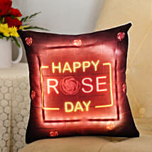Happy Rose Day LED Cushion: Rose Day Gifts