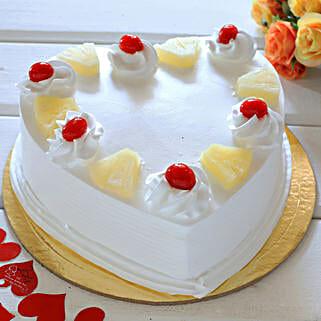 Heart Shaped Pineapple Cake: Send Heart Shaped Cakes