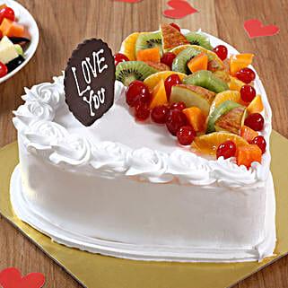 Heart Shaped Vanilla Fruit Cake: Send Fresh Fruit Cakes