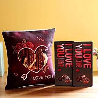 I Love You Cushion & Amul Chocolates Combo: Send Flowers to Kasaragod
