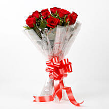 Impressive Charm- Bouquet of 10 Red Roses: Send Valentine Flowers to Tirupur