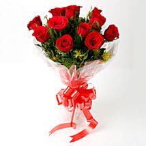 Impressive Charm- Bouquet of 10 Red Roses: Send Flowers to Anand