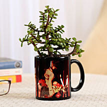 Jade Plant In Black Personalised Mug: Send Plants for Birthday