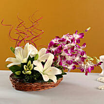 Lilies And Orchids Basket Arrangement: Get Well Soon