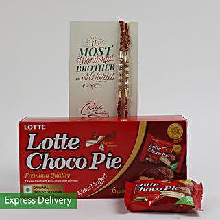 Lotte Choco Pie Rakhi Combo: Flowers & Chocolates for Rakhi