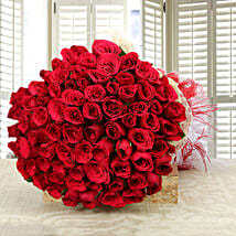 Enchanting Love- Classy 75 Red Roses Bunch: Valentines Day Gifts for Wife
