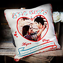 Love Birds Personalized Cushion: Send Personalised Cushions for Wife