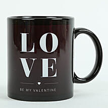 Love Ceramic Black Mug: Send Gifts to Karaikal