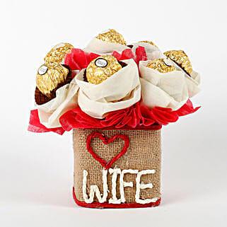 Love Wife Ferrero Rocher Chocolates Vase Arrangement: Karva Chauth Gifts