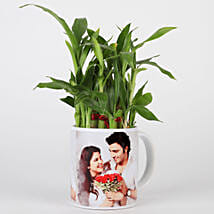 Lucky Bamboo in Personalised White Mug: Send Plants to Pune