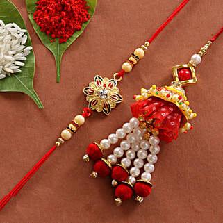 Lumba & Colorful Flower Shape Rakhi Combo: Rakhi for Brother