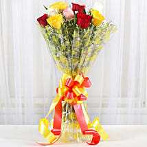 Magical Multicolored Roses Bouquet: Send Valentine Flowers for Her