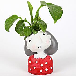 Money Plant In Winking Girl Raisin Pot: Indoor Plants