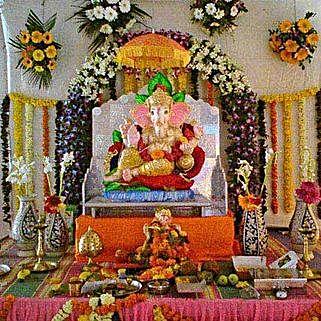 Orchids N Gerberas Ganpati Floral Decor: Ganesh Chaturthi Gifts